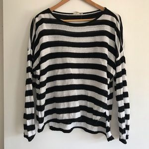 EILEEN FISHER Black & White Stripe Linen Sweater